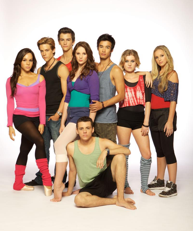 The cast of Dance Academy: a posed photo of attractive dancers. All but one are white; five girls, four boys.