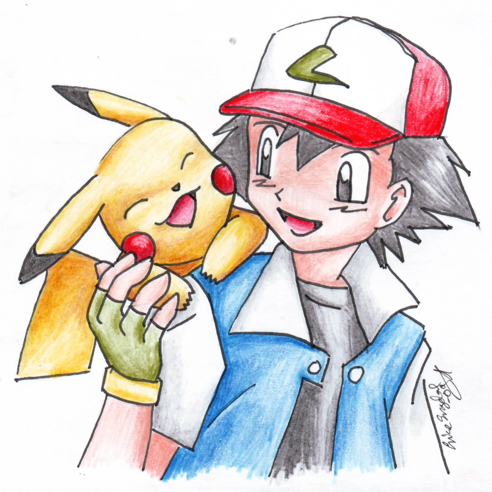 Pikachu And Ash X3