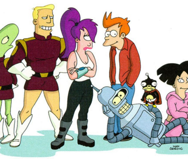 From Left Kif Zapp Brannigan Leela Fry Bender Nibbler Amy Futurama