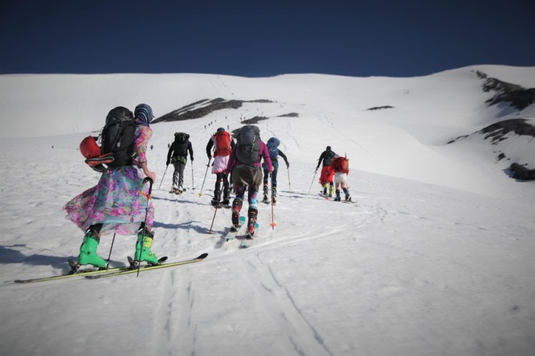 Eventually the popularity of skiing up Mount St. Helens in colorful dresses caught on.