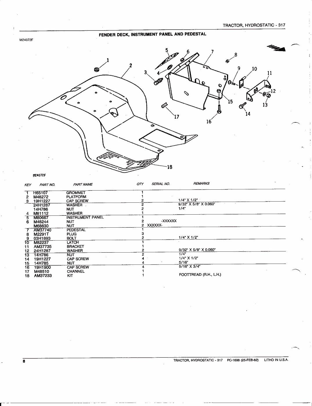 Photo John Deere 317 Hydrostatic Tractor Parts Catalog