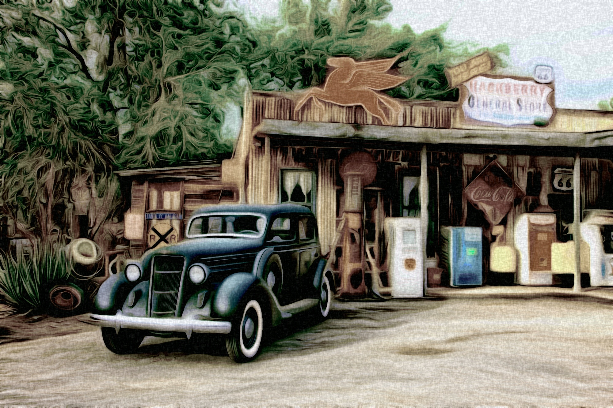 Vintage Car At A Service Station Full HD Wallpaper And