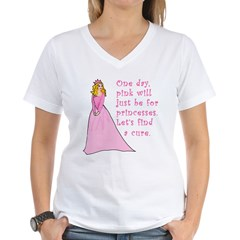 Pink Princess Find a Cure Women's V-Neck T-Shirt