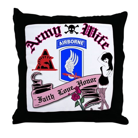 173rd Army Wife Pinup Tattoo Throw Pillow