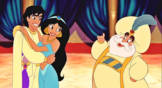 The Sultan allows Princess Jasmine and Aladdin to wed.