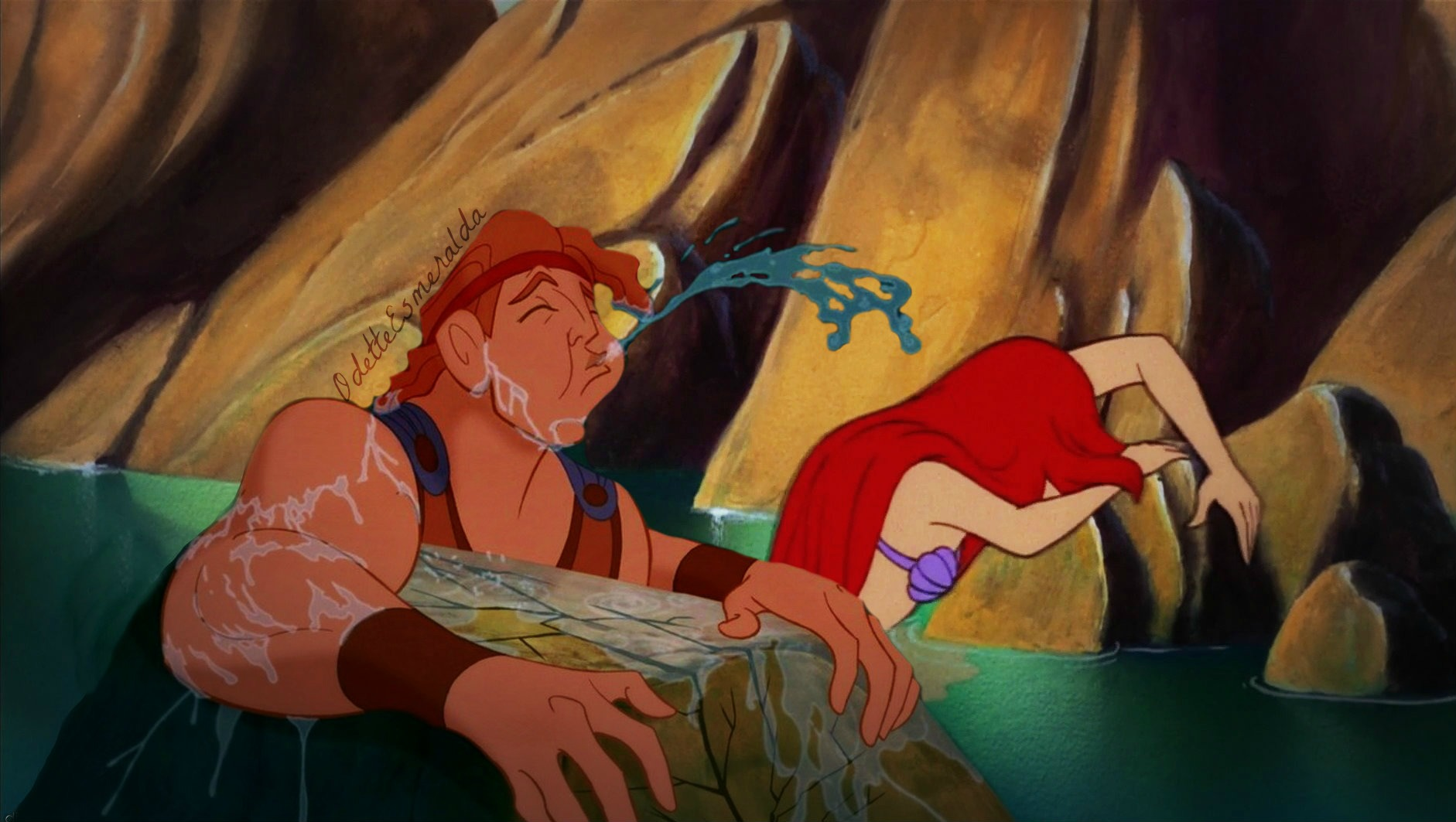 Hey guys, check it the daughter of Triton (Poseidon) and the son of Zeus! Awkward red-headed cousins for life man.