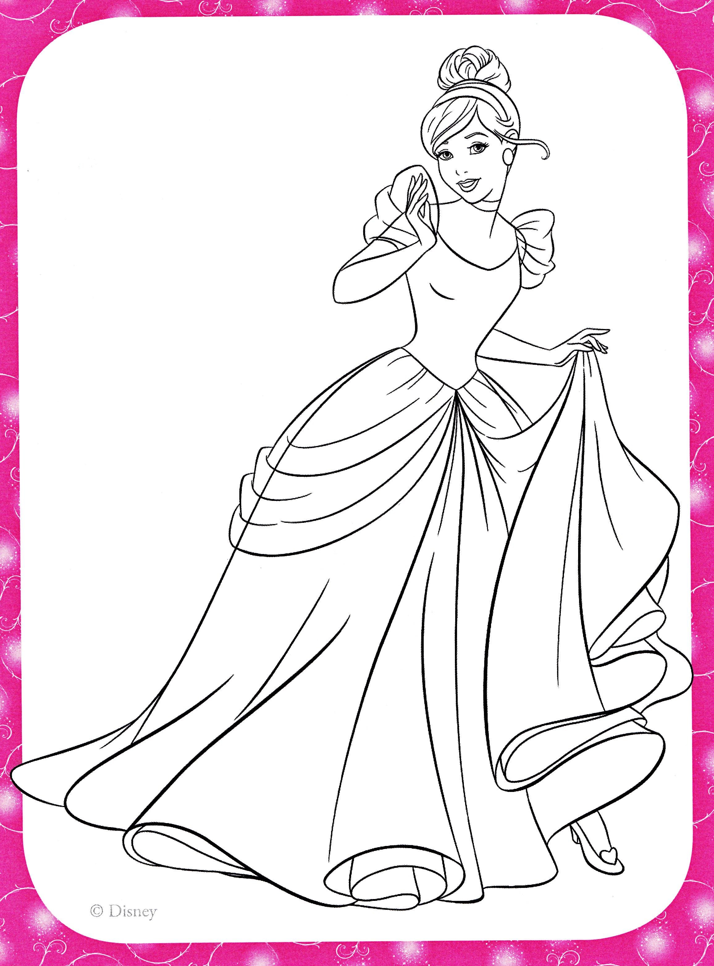 Walt Disney Coloring Pages - Princess Cinderella - Walt ... | colouring pages for disney princesses
