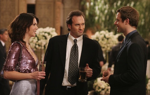 Image result for lorelai gilmore, Chris, and Luke