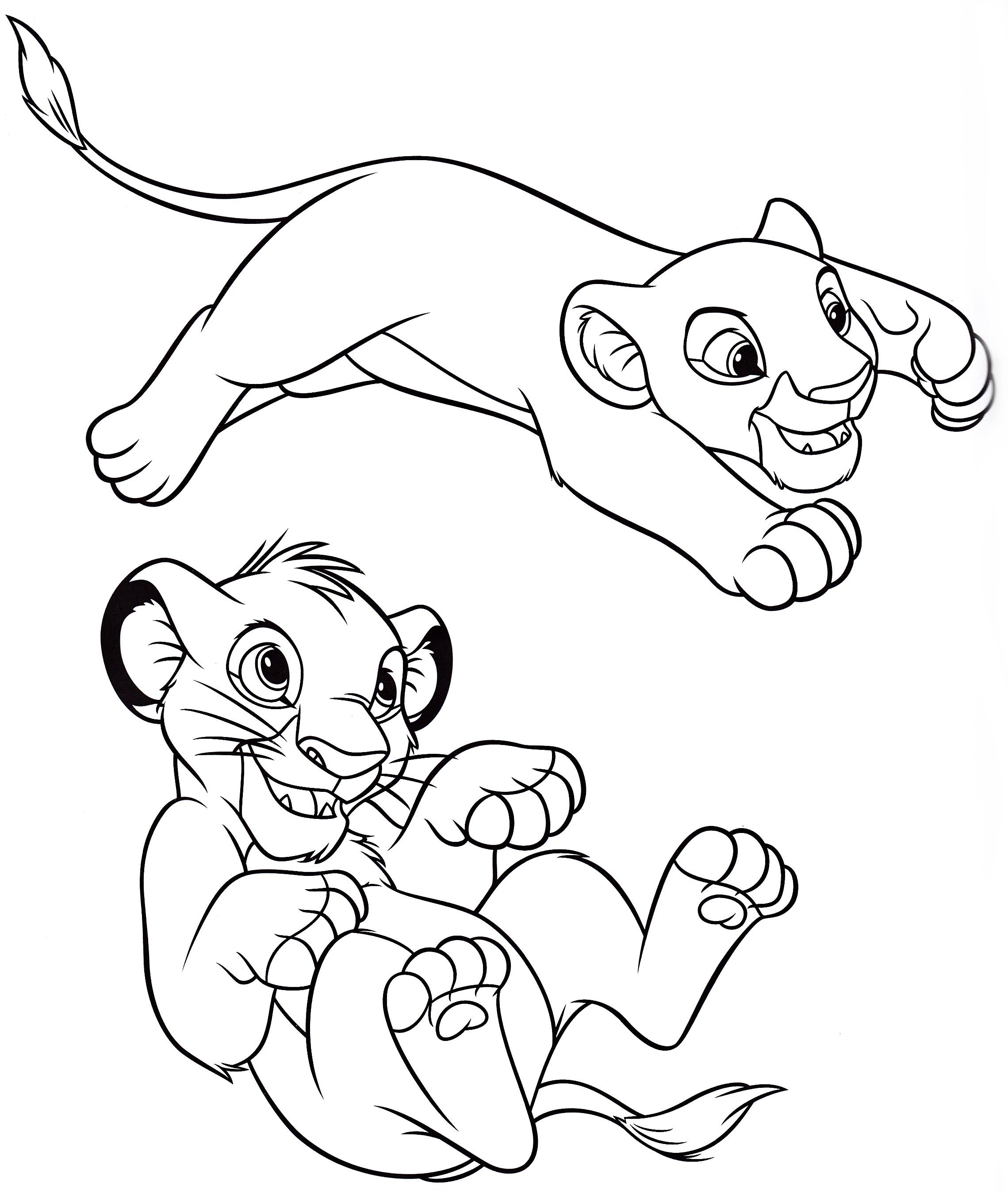 Walt Disney Coloring Pages Nala Amp Simba