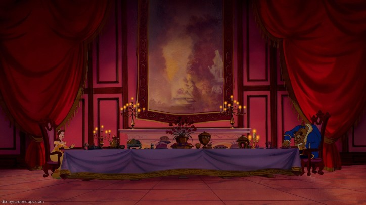 Disney Decorations Interior Design Dining Room Tapestry Beauty and the Beast Belle Baroque Rococo Candelabra