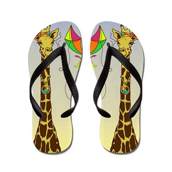 High as a Kite Giraffe Flip Flops