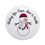 Christmas Snowman Burgundy Ribbon Ornament (Round)