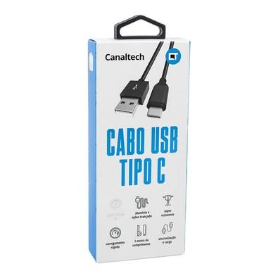 Cabo Canaltech USB M x USB Tipo C Nylon Preto 1mt 7795