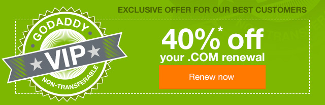 40%* off your .COM renewal.