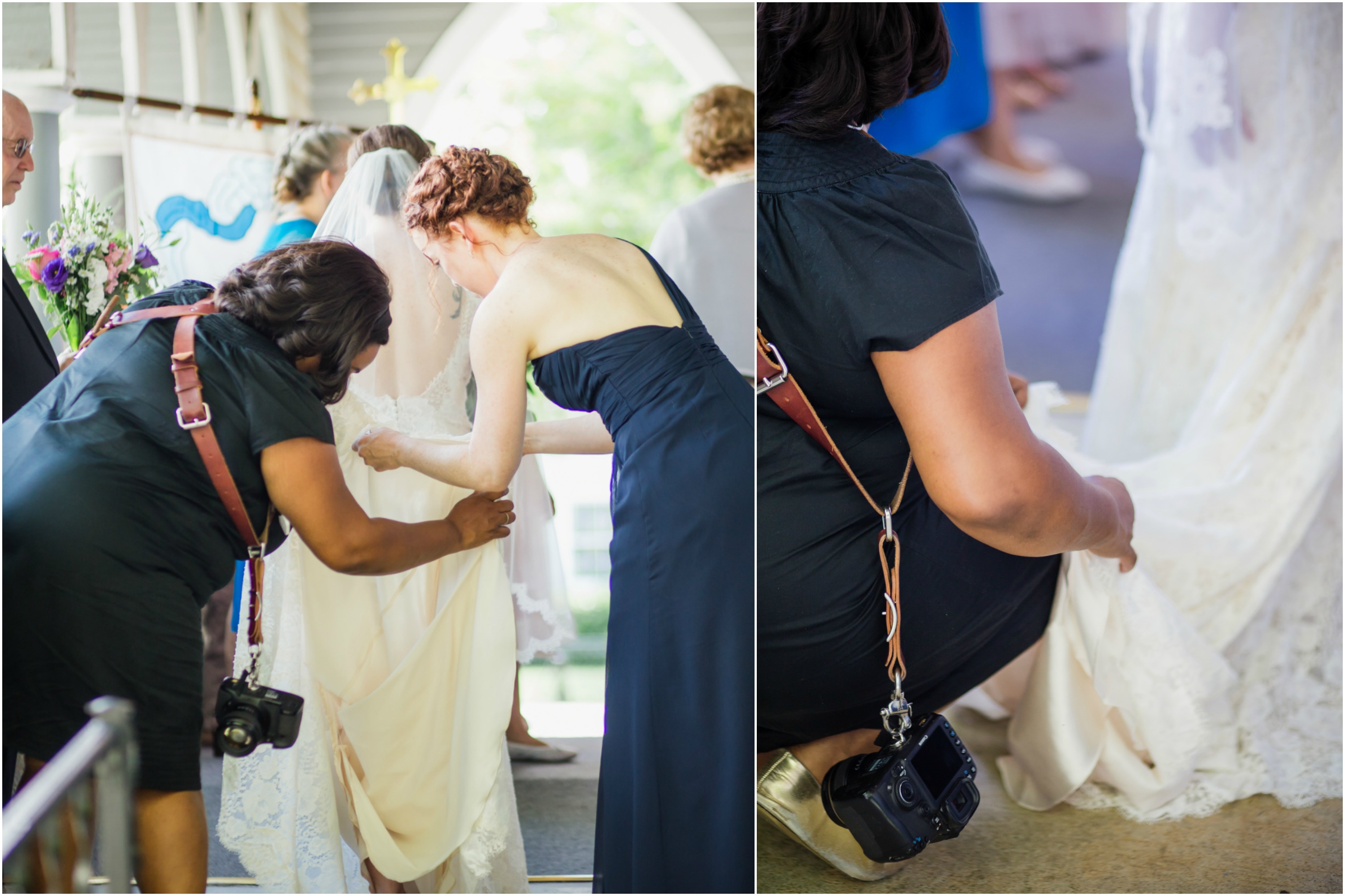 photographer bustling brides dress