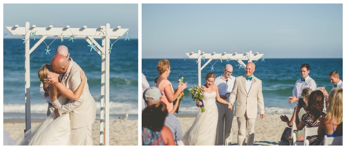 first kiss as husband and wife at beach wedding