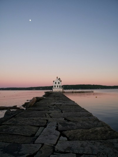 Breakwater Lighthouse And Moon Rockland Harbor - lighter