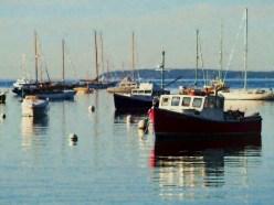 Red Fishing Boat Rockport Harbor ME