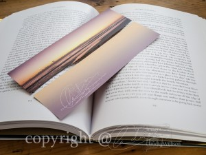photo bookmark, sunrise,, ocean, beach, purple