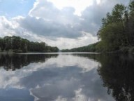 Delaware Water Gap, clouds, mirror, calm