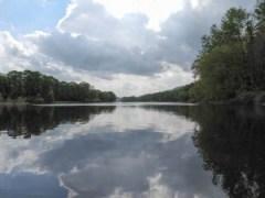 Delaware Water Gap, clouds, mirror, calm