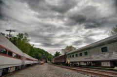 Whippany Railroad Museum, New Jersey, cart, wagon, clouds