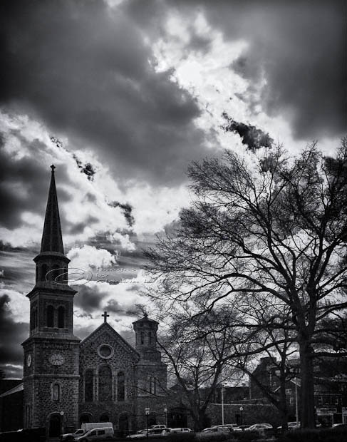 Morristown, Green, clouds, church