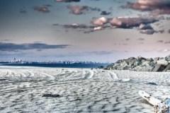 Sandy Hook, NYC, skyline, beach, sand, ocean, clouds