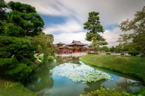Magnificent temple. Long exposure of 2 minutes view from the side pond. Uji, Kyoto, Japan.
