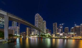 Miami River and bridge long exposure