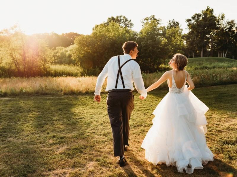 sunset wedding photos from Blackberry Ridge Golf Course wedding