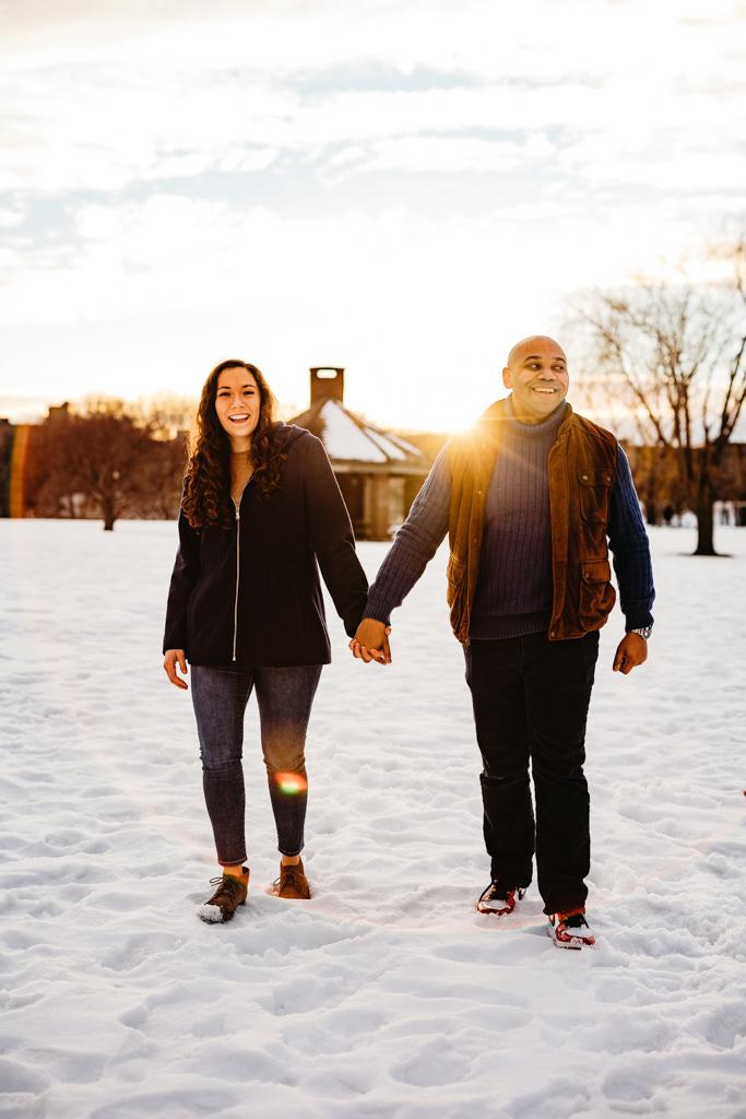 boom island park winter couples session minneapolis wedding photographer, minnesota engagement photos, winter couples session