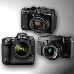 Inizia bene il 2012 della fotografia. Nell'immagine da sinistra la Nikon reflex D4, la Canon PowerShot G1 X FSL e la Fujifilm X-Pro1