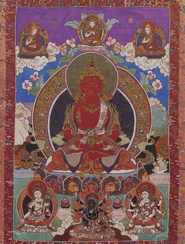 Amitayus Buddha, 19th century Tibetan silk appliqué from the Rubin Museum of Art