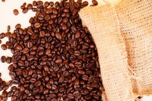 Pile of coffee beans stock image
