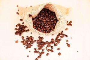 Sack of coffee stock image