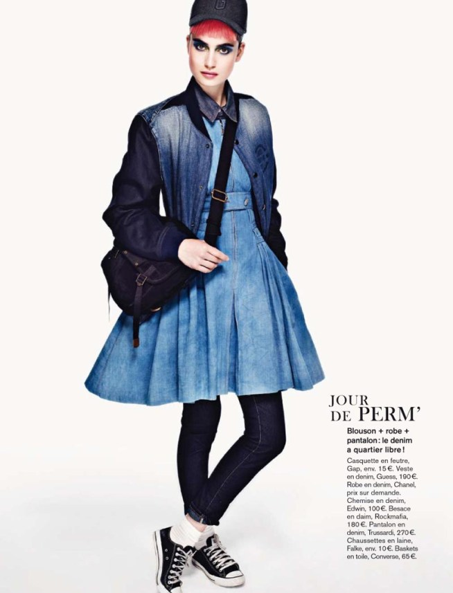pauline8 Pauline Van der Cruysse Models Denim Fashion for Glamour France by Naomi Yang