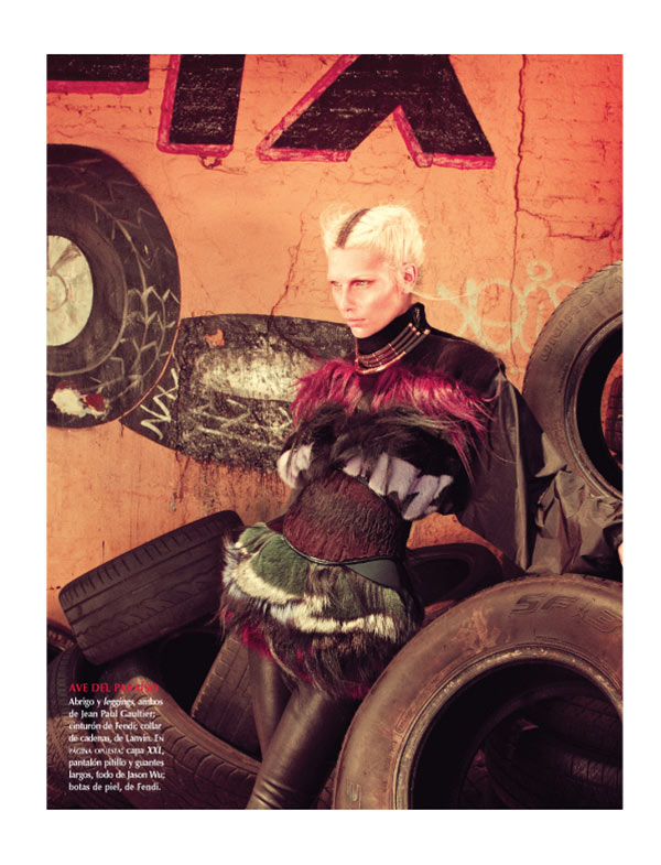 aline weber2 Aline Weber Dons Fashion with Edge for Vogue Mexico November 2012 by Andreas Sjodin