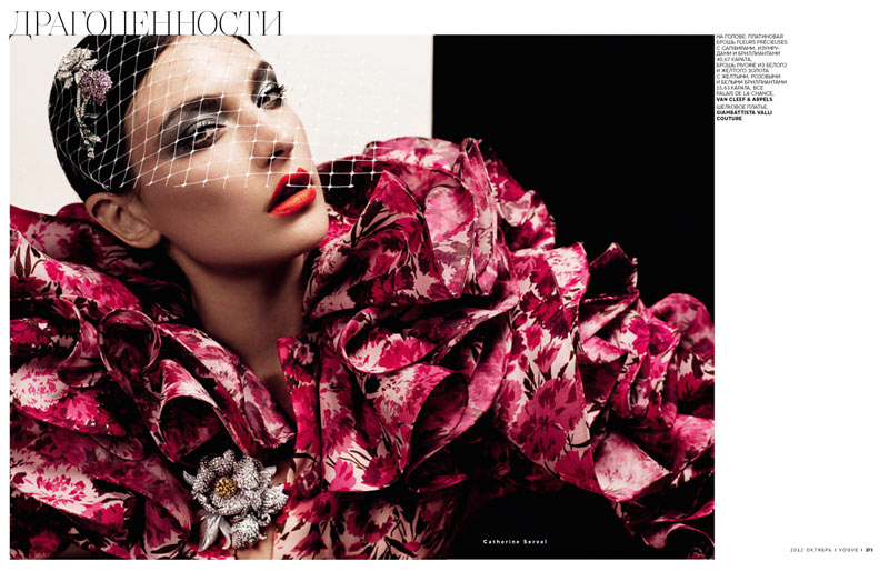 jacquelyn jablonski5 Jacquelyn Jablonski Shines in Couture for Vogue Russia October 2012 by Catherine Servel