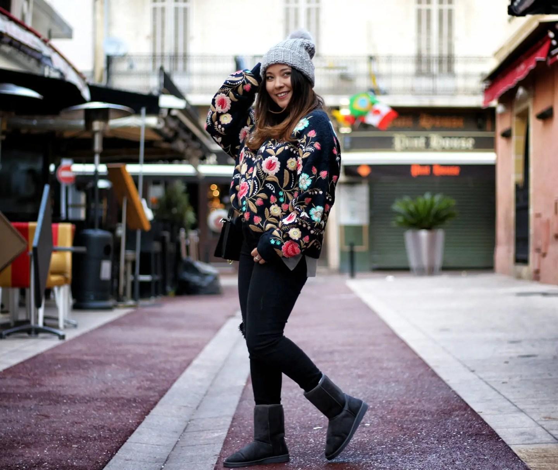 cosy, comfy, blogueuse mode, blog mode, ode, the green ananas, zara, pull fleurs zara, pulls femme, bonnets, bonnets femme, hetm, hm, jean femme, jean zara, boots femme, boots fourées, gémo, boots gémo