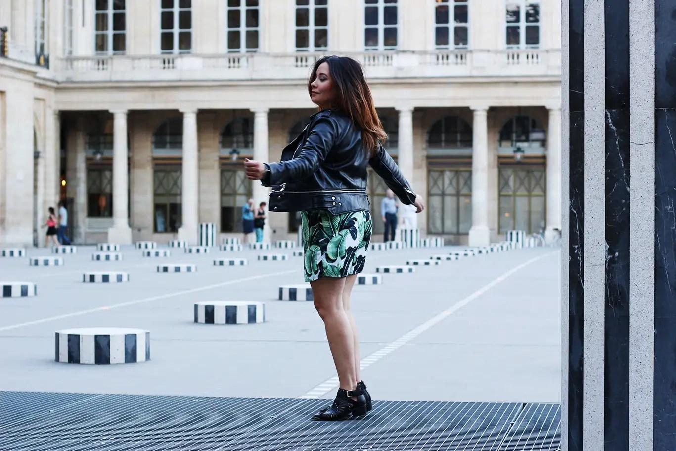 ootd, colonnes buren, blog mode, blogueuse mode, boohoo, asos, zara, veste simili cuir, combi short, boots boohoo