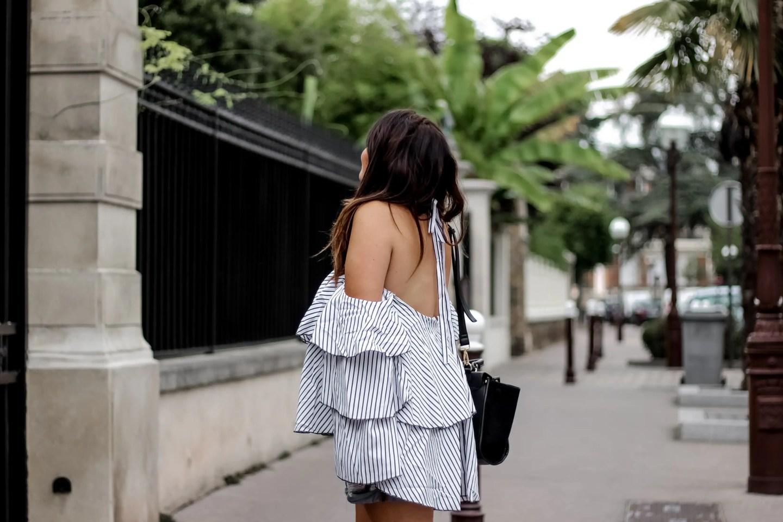 top off shoulder, shein, top bardot, blog mode, blogueuse mode, fashion blogger, palmtrees, sac celine, sandales clous, studded, chaussures inspi maje, no leather, chaussures vegan