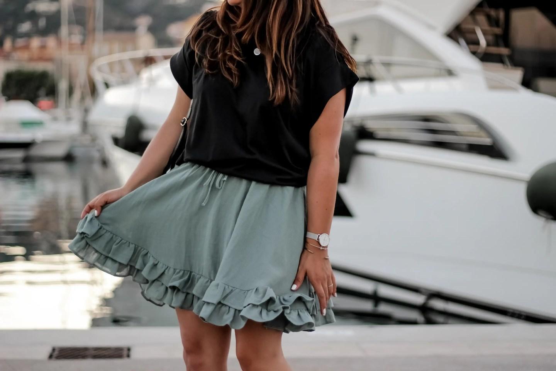 jupe verte, h&m, blog mode, blogueuse mode, the green ananas, blogger, jupe plissée, jupe femme, green skirt