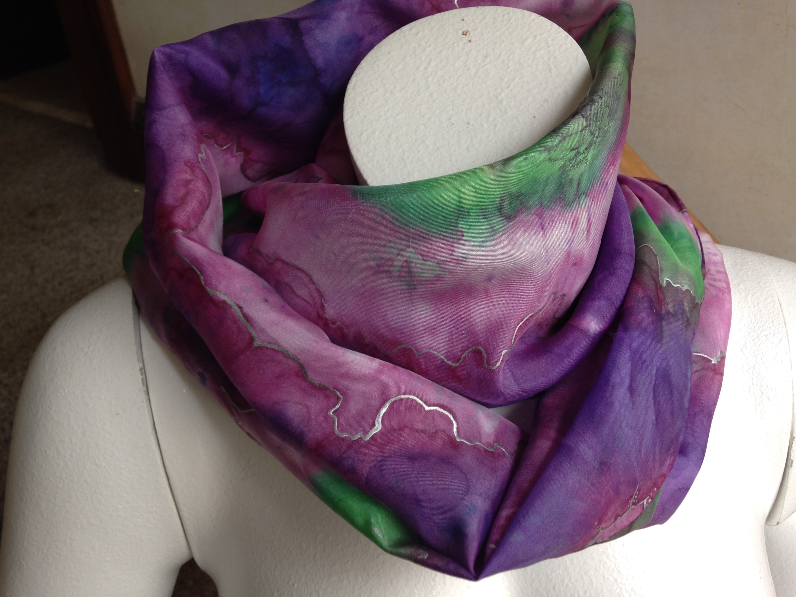 "Shibori Scarf 15""x60"" in habotai grade silk"