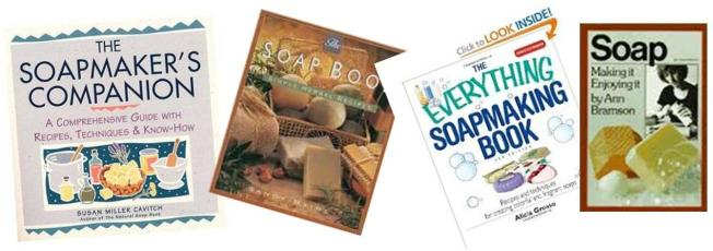 a few of the books from our growing soapmakers library