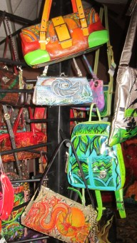 Lush painted leather handbags