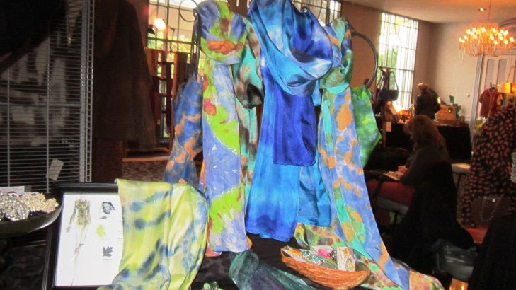 My booth - cool tones. The scarf on the left in celery and blue was an amazing surprise that it sold quickly.