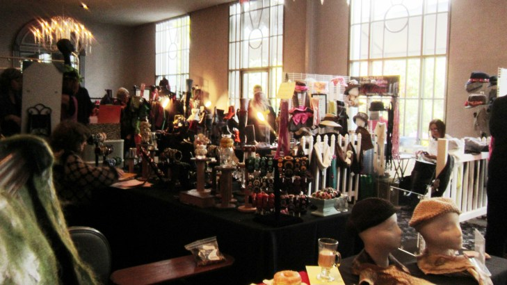 A view of the vintage button lady behind me, and other vendors beyond
