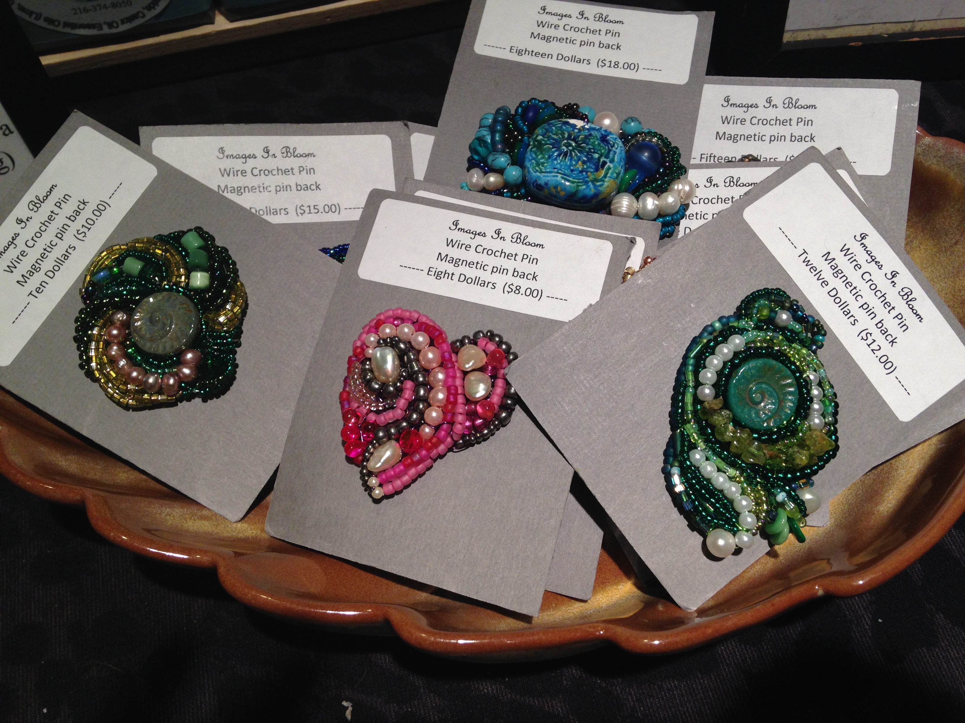 Wire Crochet Pins with magnetic pin backs
