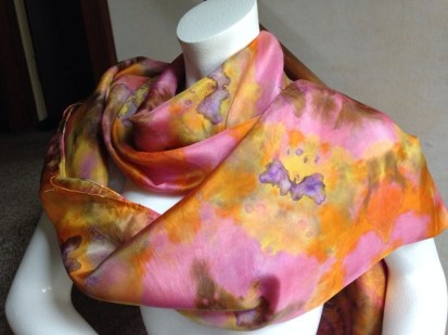 "Shibori Scarf 15""x75"" in 12mm China Silk"